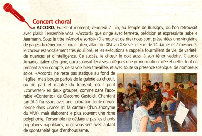 article concert choral accord