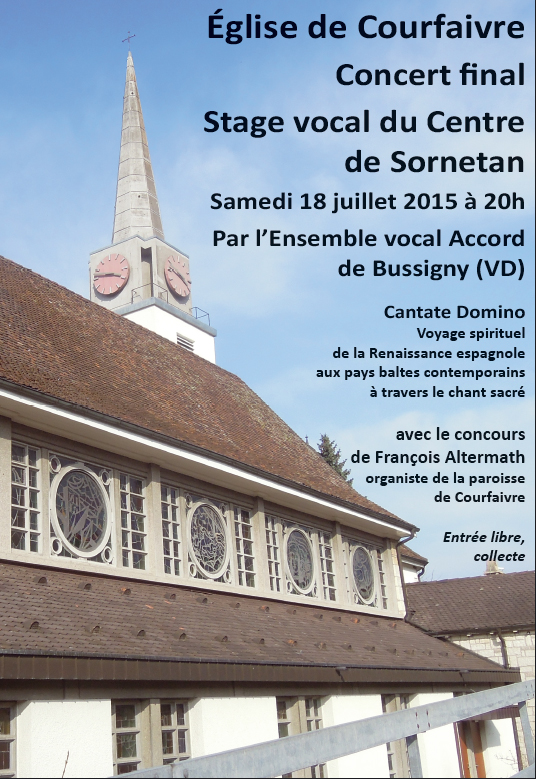 Église de Courfaivre – Concert final du Stage vocal au Centre de Sornetan