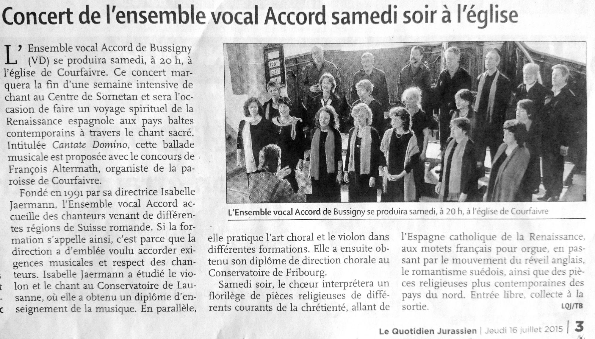 Annonce du concert dans le Quotidien Jurassien du 16.7.2015